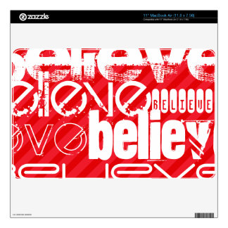 Believe; Scarlet Red Stripes Decals For The MacBook