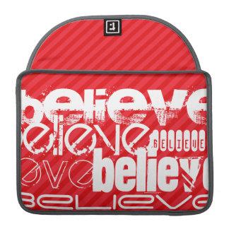 Believe; Scarlet Red Stripes Sleeve For MacBook Pro