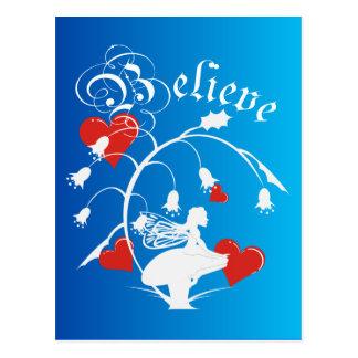 Believe Silhouette Fairy Postcard Post Card