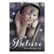 Believe Snowflakes   Folded Holiday Greeting Card
