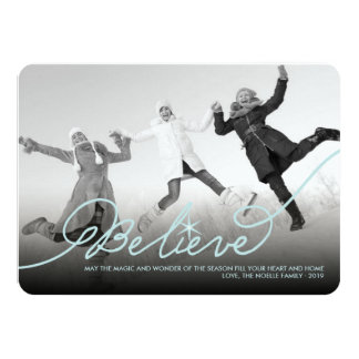 Believe Star Christmas Photo Holiday Greetings 4.5x6.25 Paper Invitation Card