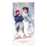 Believe Star Christmas Photo Holiday Greetings Photo Card