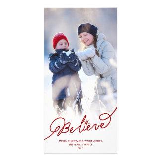 Believe Star Christmas Photo Holiday Greetings Photo Card