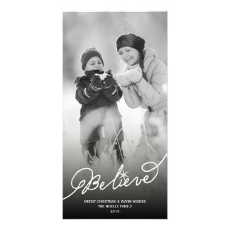 Believe Star Christmas Photo Holiday Greetings Photo Greeting Card