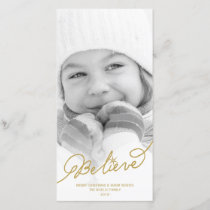 Believe Star Christmas Stylish Holiday Photo Card