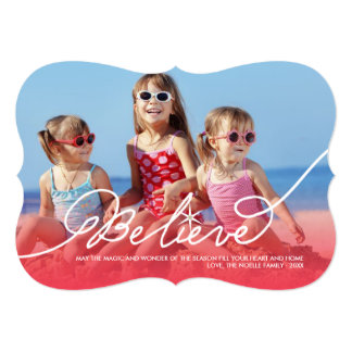 Believe Star Red Christmas Photo Holiday Greetings 5x7 Paper Invitation Card