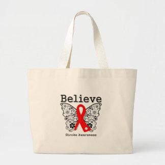 Believe Stroke Awareness Canvas Bags