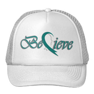 Believe (teal and white-trucker) trucker hats