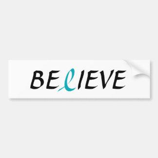 BELIEVE Teal Ribbon for Ovarian Cancer Awareness Car Bumper Sticker