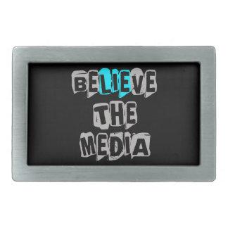 BeLIEve the Media Rectangular Belt Buckle