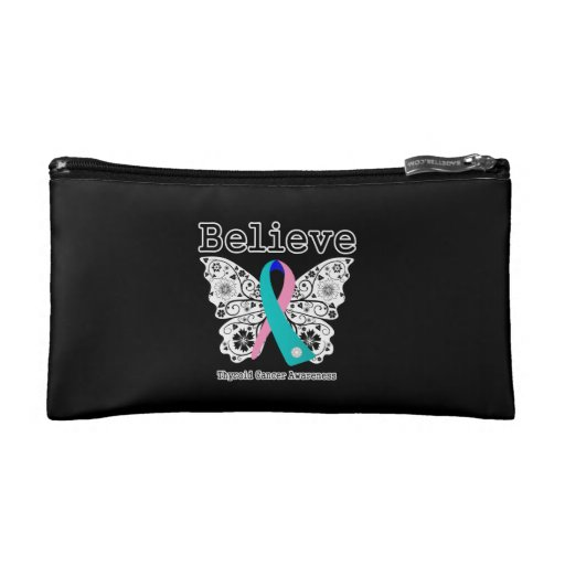 Believe - Thyroid Cancer Butterfly Makeup Bag