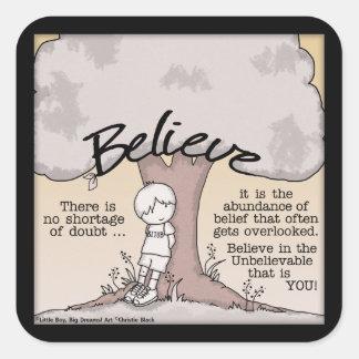 Believe Tree Square Sticker