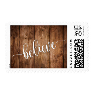 Believe Typography and Rustic Brown Wood Postage