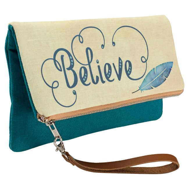Believe Typography Feather Watercolor Teal Blue