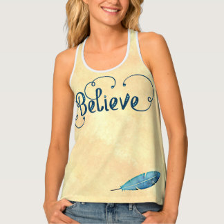 Believe Typography Watercolor Feather Blues Yellow Tank Top