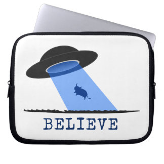 Believe (UFO beaming up cow) Laptop Sleeve