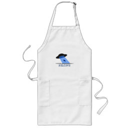 Believe (UFO beaming up cow) Long Apron
