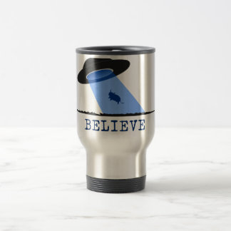 Believe (UFO beaming up cow) 15 Oz Stainless Steel Travel Mug