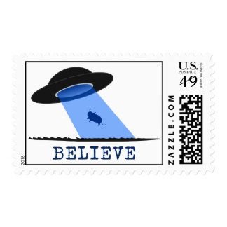 Believe (UFO beaming up cow) Postage