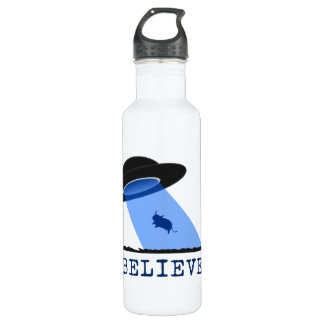 Believe (UFO beaming up cow) Stainless Steel Water Bottle