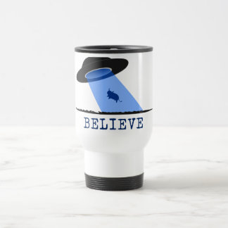Believe (UFO beaming up cow) Travel Mug