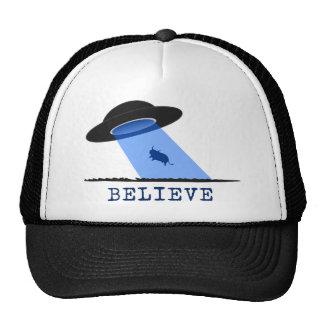 Believe (UFO beaming up cow) Trucker Hat