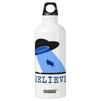 Believe (UFO beaming up cow) Water Bottle