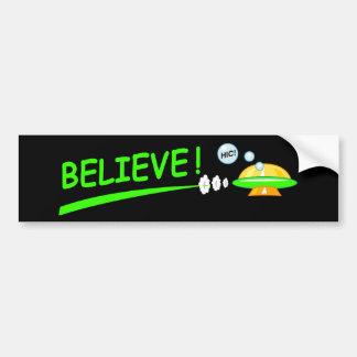 Believe! UFO Car Bumper Sticker