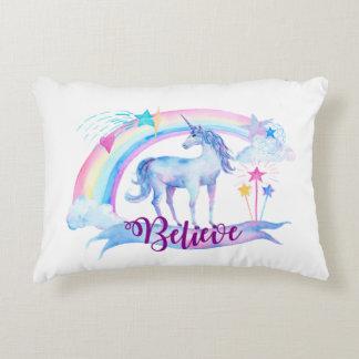 Believe / Unicorn Baby Girl's Nursery Room Decor Decorative Pillow