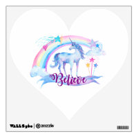 Believe / Unicorn Baby Girl's Nursery Room Decor Wall Decal