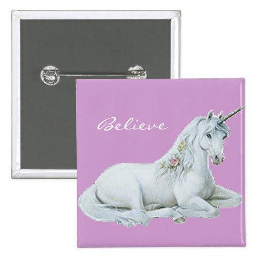 Believe Unicorn Square Button