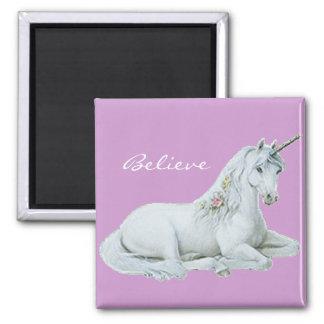 Believe Unicorn Square Magnet