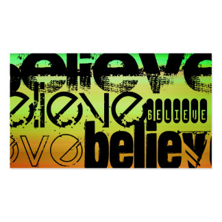 Believe; Vibrant Green, Orange, & Yellow Double-Sided Standard Business Cards (Pack Of 100)