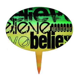 Believe; Vibrant Green, Orange, & Yellow Cake Picks