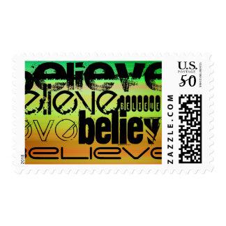 Believe; Vibrant Green, Orange, & Yellow Postage