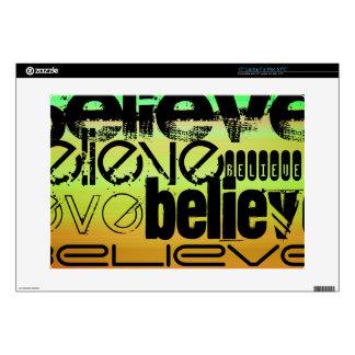 "Believe; Vibrant Green, Orange, & Yellow 15"" Laptop Skin"
