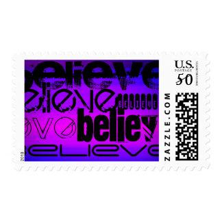 Believe; Vibrant Violet Blue and Magenta Postage