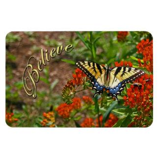 Believe w/Butterfly & Flowers Magnet