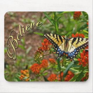Believe w Butterfly Flowers Mouse Pad