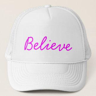 Believe White Hat Magenta Script