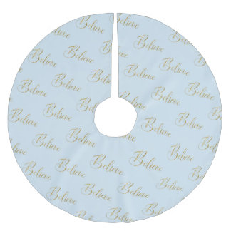 Believe -Wintery Blue & Gold Brushed Polyester Tree Skirt