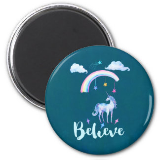 Believe with a Unicorn Under a Rainbow Magnet