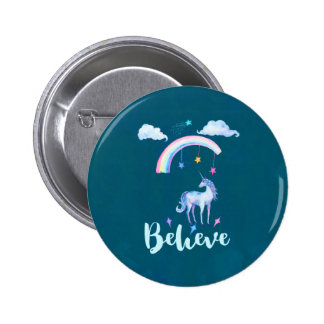 Believe with a Watercolor Unicorn Under a Rainbow Pinback Button