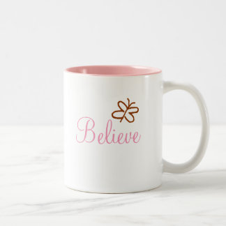 Believe With Butterfly Two-Tone Coffee Mug