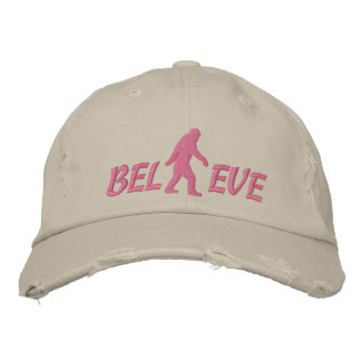 Believe with large bigfoot logo embroidered baseball hat
