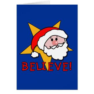 Believe! With Santa Cartoon on Tees, Gifts Card