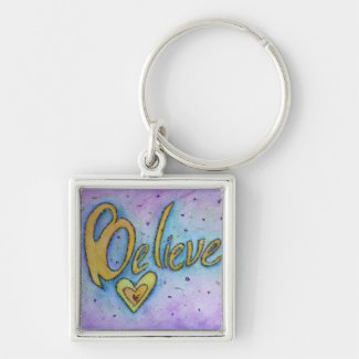 Believe Word Art Painting Inspirational Key Chains