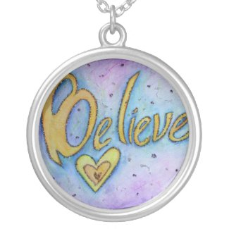 Believe Word Art Painting Silver Necklace Charm