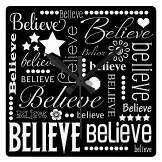 Believe Word Art Text Design Square Wall Clocks