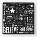 Believe Word Art Text Design Square Wall Clocks